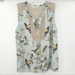 Daniel Rainn crochet blouse bird print XL
